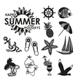 Black and white summer icons vector