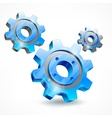 Blue three gears on white vector