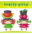 Fruity girls series 1 watermelon cherry vector