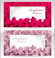 Two post card or frames or banners with red and pi vector