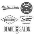 Set of vintage barber shop logo labels prints vector