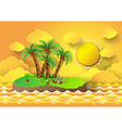 Palm with island and sunrise vector