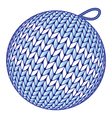 Blue knitted christmas ball isolated on white vector
