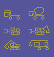 Linear construction truck icon set vector