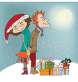 Funny couple in the winter vector