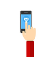 Mail hand hold touch screen on mobile phone vector