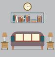 Modern design interior sofa and bookshelf vector