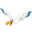 Cute pelican cartoon flying vector