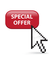 Special offer button click vector