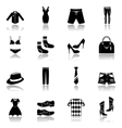 Clothes icons set black vector
