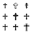 Black christia crosses icons set vector