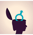 Thinking concept-human head with male symbol vector