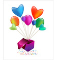 Gift box with colored balloons waving vector