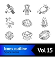 Space icons outline set vector