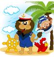 Lion captain and monkey sailor vector
