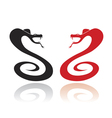 Two silhouettes of snakes in the attack position vector