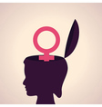 Thinking concept-human head with female symbol vector
