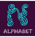 Doodle hand drawn sketch alphabet letter n vector