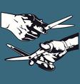 Hand with scissor graphics vector