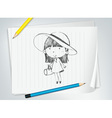 Cute girl with hat vector