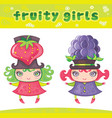 Fruity girls series 6 strawberry blackberry vector