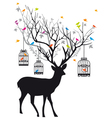 Deer with birds and birdcages vector