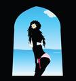 Girl in white bikini on window vector