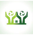 Eco friendly home made by hand protecting nature vector