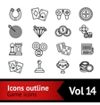 Game outline icons set vector