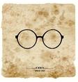 Vintage postcard glasses label on grunge paper vector
