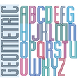 Retro colorful geometric font with parallel lines vector