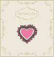Greeting card for valentines day in vintage style vector