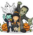 Witch vampire frankenstein ghost pumpkin greeting vector