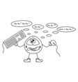 Funny creature and any key problem sketch vector