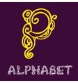 Doodle hand drawn sketch alphabet letter p vector