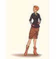 Girl in autumn dress vector