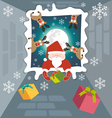 Santa claus and reindeer send gifts on christmas vector