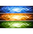 Colourful abstract banners with waves vector