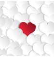 Paper hearts background with alone red heart vector