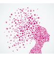 Breast cancer awareness ribbon woman head vector