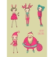 Christmas funny girls set vector