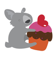 Cute koala with sweet cake vector
