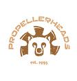 Bear t-shirt animal head logo with fan blades vector