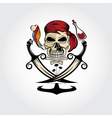 Pirate skull with parrotrumanchor and palms vector