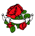 Vintage red roses and old banner vector