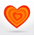 Red orange striped heart on white background vector
