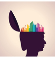 Thinking concept-human head with colorful building vector
