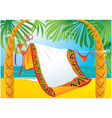 Landscape frame with tropic beach vector