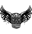Day of the dead winged skull vector