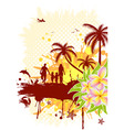Summer frame with palm tree dolphin crab family ve vector